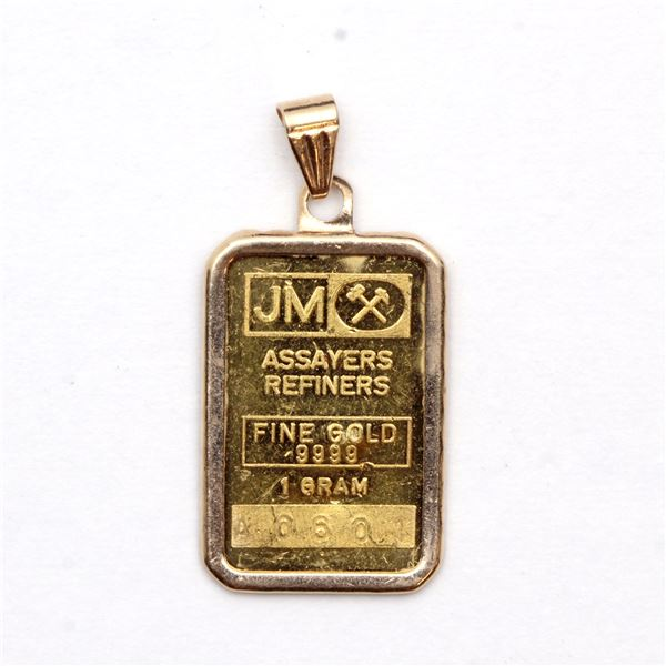 Johnson Matthey 1 Gram Gold bar with blank reverse in 14K Bezel. (Tax Exempt) Serial # A060.
