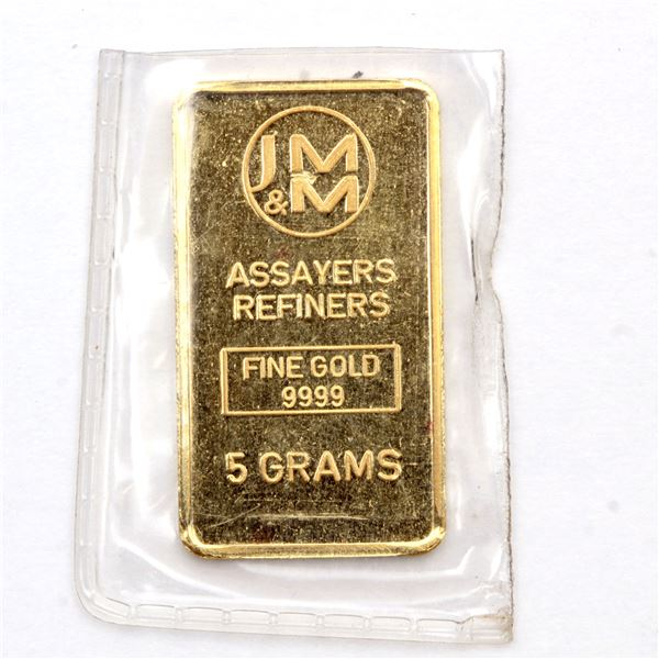 Johnson Matthey & Mallory 5 Gram Gold with Blank Reverse (Tax Exempt)