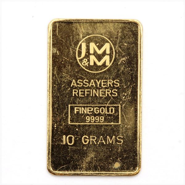 Johnson Matthey & Mallory 10 Gram Gold with Blank Reverse (Tax Exempt)