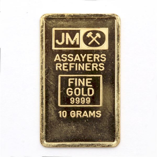 Johnson Matthey 10 Gram Fine Gold Bar with Blank Reverse (Tax Exempt)