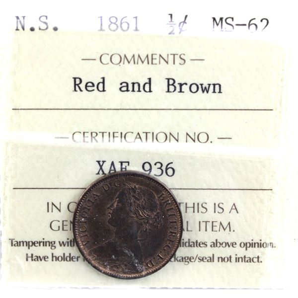 Nova Scotia 1/2-cent 1861 ICCS Certified MS-62 Red & Brown. Consistent tones throughout this coin gi
