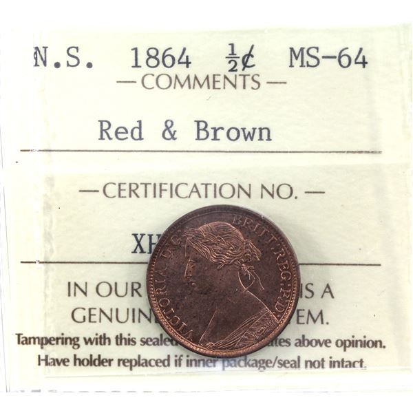 Nova Scotia 1/2-cent 1864 ICCS Certified MS-64 Red & Brown. A near full red obverse with some deeper