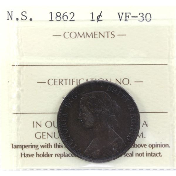 Nova Scotia 1-cent 1862 ICCS Certified VF-30. A nice consistent and deep brown tone.