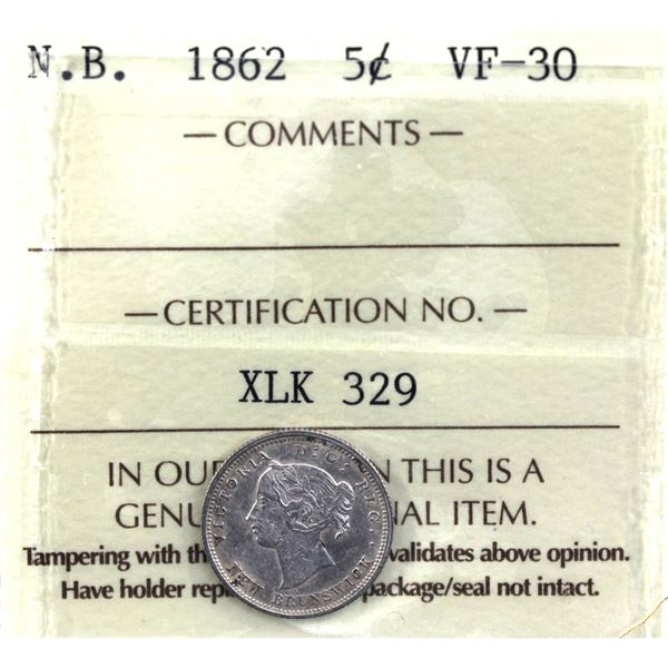 New Brunswick 5-cent 1862 Small 6 ICCS Certified VF-30.