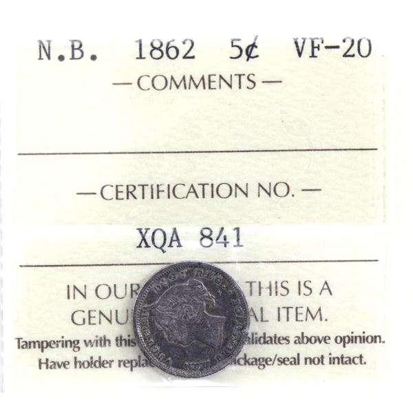 New Brunswick 5-cent 1862 Small 6 ICCS Certified VF-20.