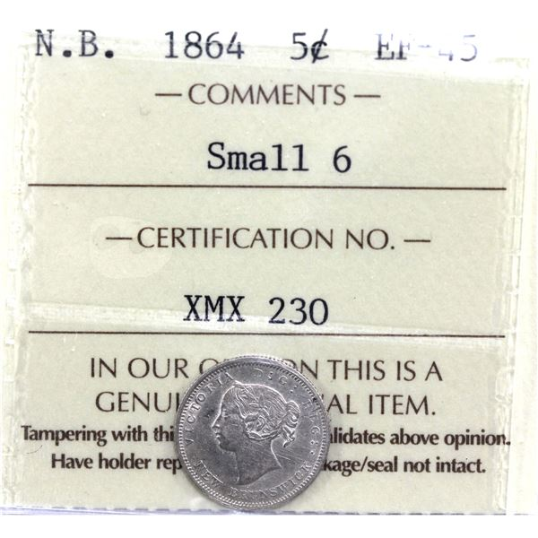 New Brunswick 5-cent 1864 Small 6 ICCS Certified EF-45. *Key Date!*