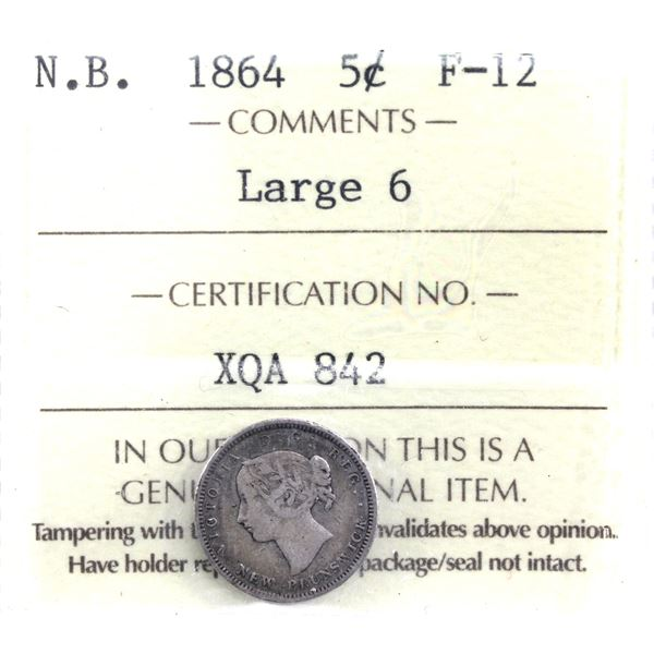 New Brunswick 5-cent 1864 Large 6 ICCS Certified F-12.
