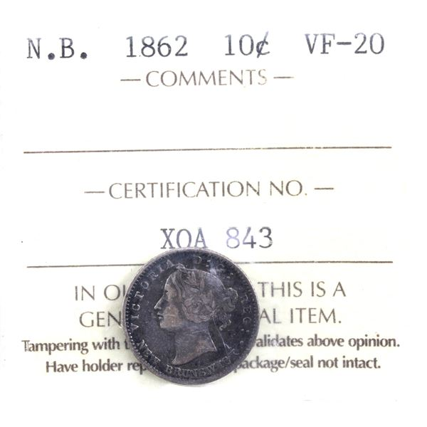 New Brunswick 10-cent 1862 ICCS Certified VF-20.