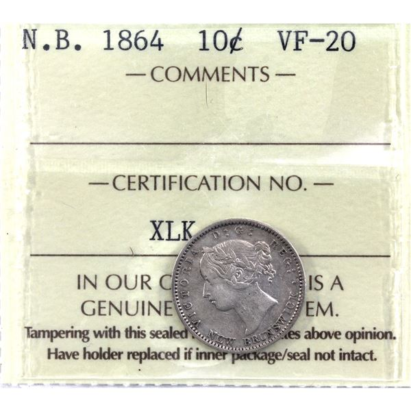 New Brunswick 10-cent 1864 ICCS Certified VF-20.