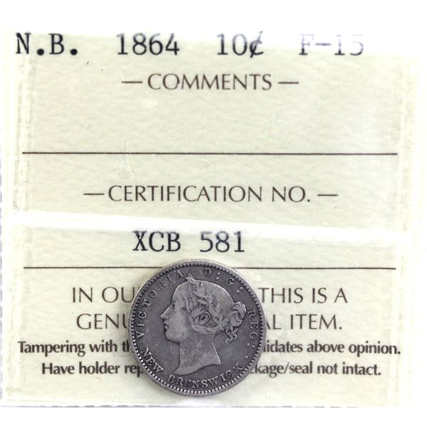 New Brunswick 10-cent 1864 ICCS Certified F-15. *Key Date*