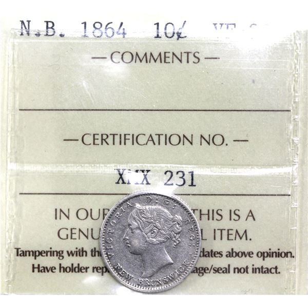 New Brunswick 10-cent 1864 ICCS Certified VF-30. *Key Date*