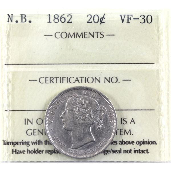 New Brunswick 20-cent 1862 ICCS Certified VF-30.