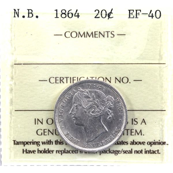 New Brunswick 20-cent 1864 ICCS Certified EF-40.