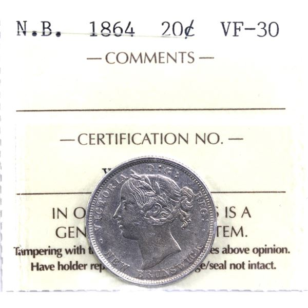 New Brunswick 20-cent 1864 ICCS Certified VF-30. A nice mid-grade coin.