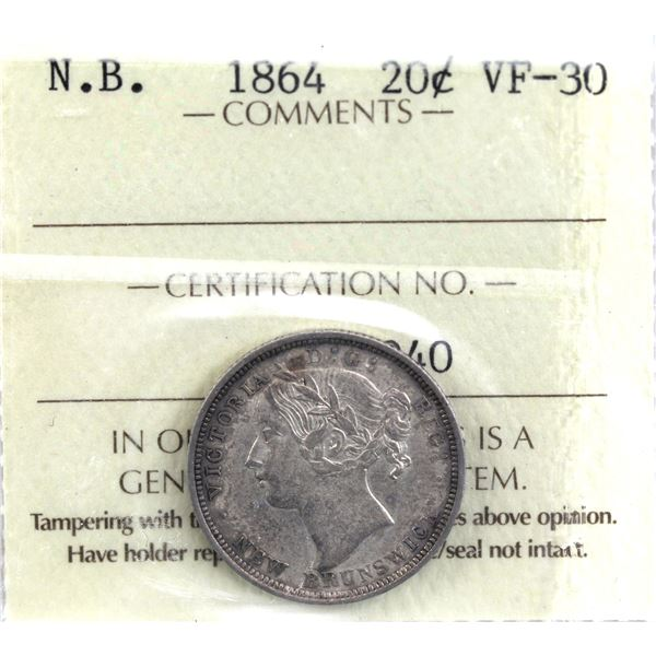 New Brunswick 20-cent 1864 ICCS Certified VF-30.