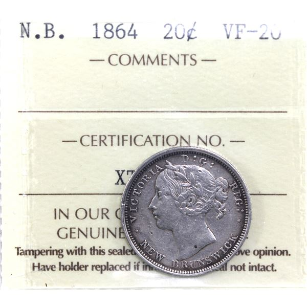 New Brunswick 20-cent 1864 ICCS Certified VF-20.