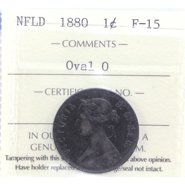 Newfoundland 1-cent 1880 Oval 0 ICCS Certified F-15.