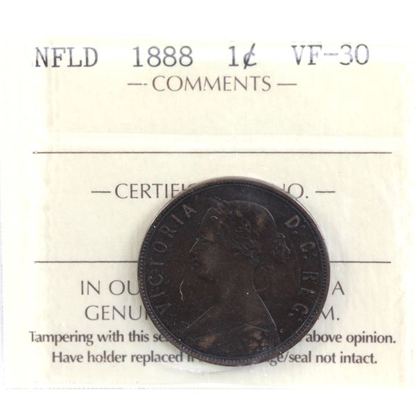Newfoundland 1-cent 1888 ICCS Certified VF-30.