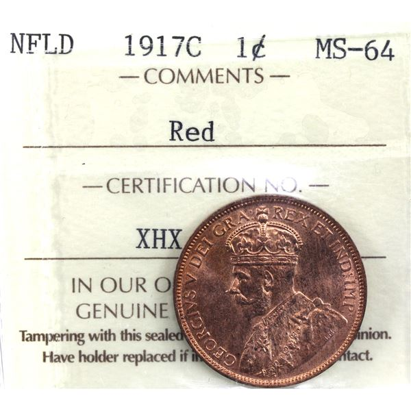 Newfoundland 1-cent 1917-C ICCS Certified MS-64 Red. A deep cherry red coin with full luster.