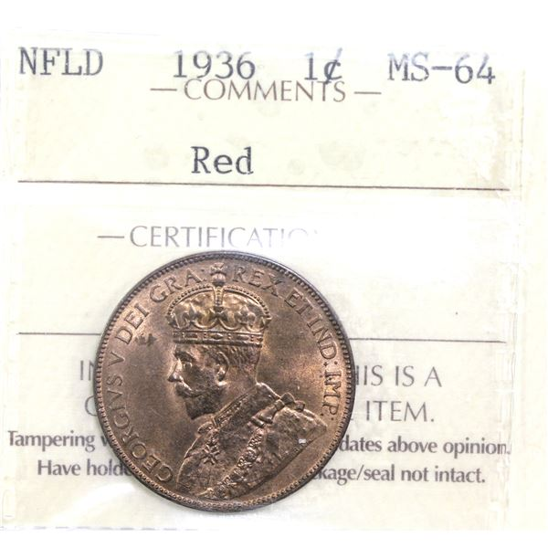 Newfoundland 1-cent 1936 ICCS Certified MS-64 Red. Nice deep red tones.