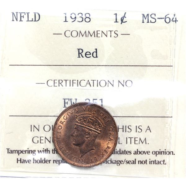 Newfoundland 1-cent 1938 ICCS Certified MS-64 Red.