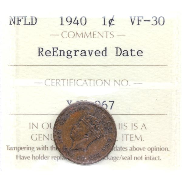 Newfoundland 1-cent 1940 Re-Engraved Date ICCS Certified VF-30.