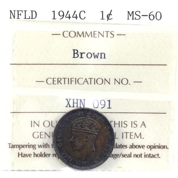 Newfoundland 1-cent 1944-C ICCS Certified MS-60 Brown.