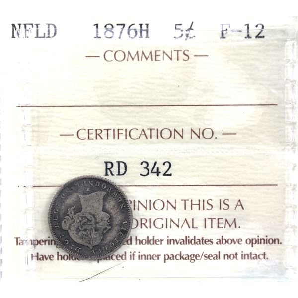 Newfoundland 5-cent 1876H ICCS Certified F-12. *Key Date*