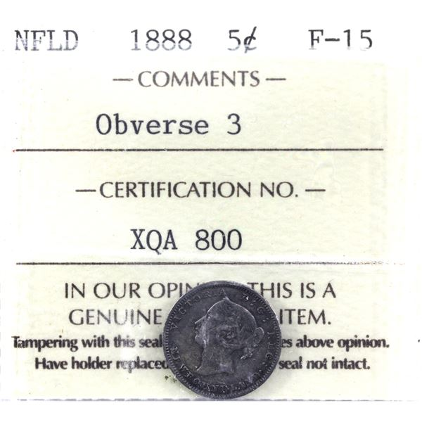 Newfoundland 5-cent 1888 Obverse 3 ICCS Certified F-15.