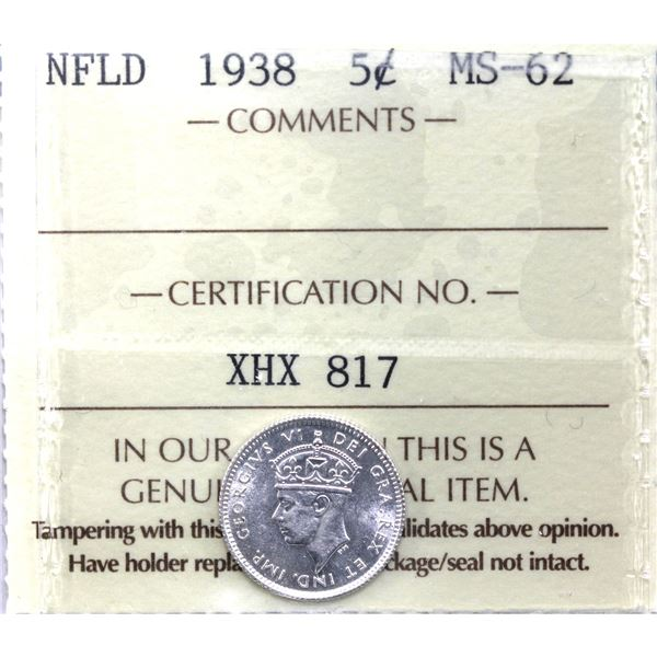 Newfoundland 5-cent 1938 ICCS Certified MS-62.