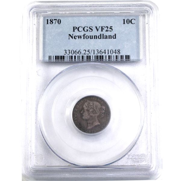 Newfoundland 10-cent 1870 Obverse 2 PCGS Certified VF-25.