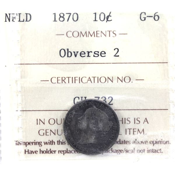 Newfoundland 10-cent 1870 Obverse 2 ICCS Certified G-6.