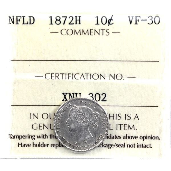 Newfoundland 10-cent 1872H ICCS Certified VF-30.