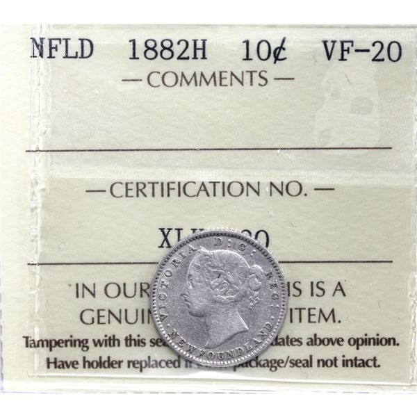 Newfoundland 10-cent 1882H ICCS Certified VF-20.