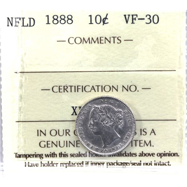 Newfoundland 10-cent 1888 ICCS Certified VF-30. *Key Date*