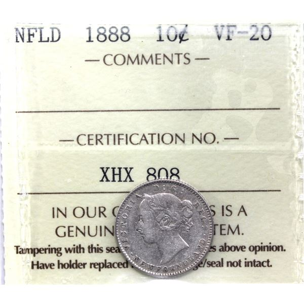Newfoundland 10-cent 1888 ICCS Certified VF-20. *Key Date*