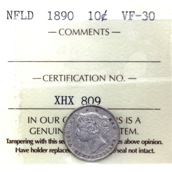 Newfoundland 10-cent 1890 ICCS Certified VF-30.