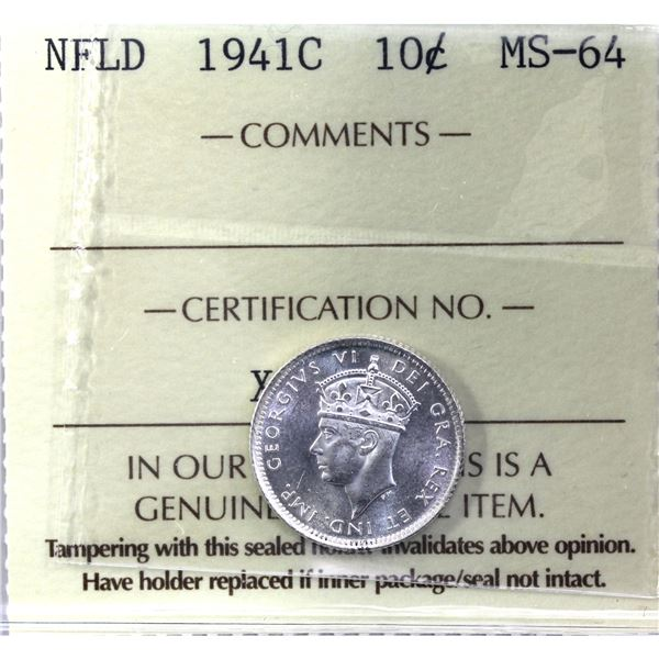Newfoundland 10-cent 1941C ICCS Certified MS-64. Full bright white coin.