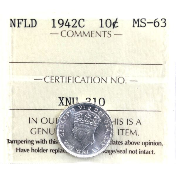 Newfoundland 10-cent 1942C ICCS Certified MS-63. Blast white coin.