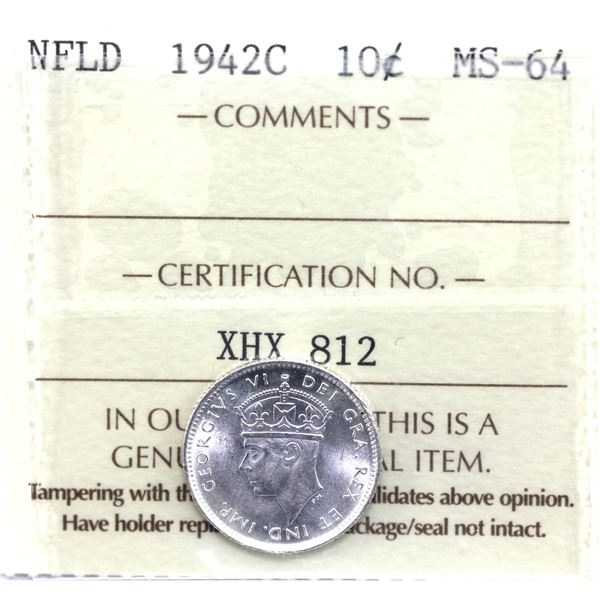 Newfoundland 10-cent 1942C ICCS Certified MS-64. Frosted white coin.