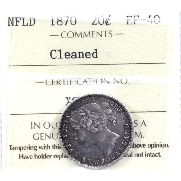 Newfoundland 20-cent 1870 ICCS Certified EF-40 (Cleaned). Coin has attractive grey tones and does no