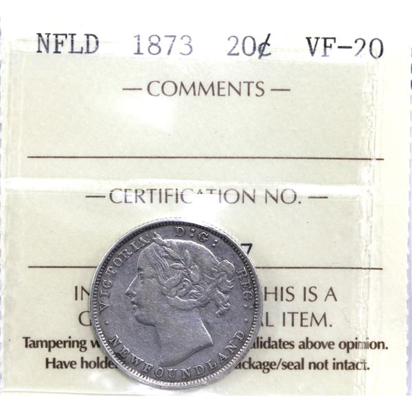 Newfoundland 20-cent 1873 ICCS Certified VF-20.