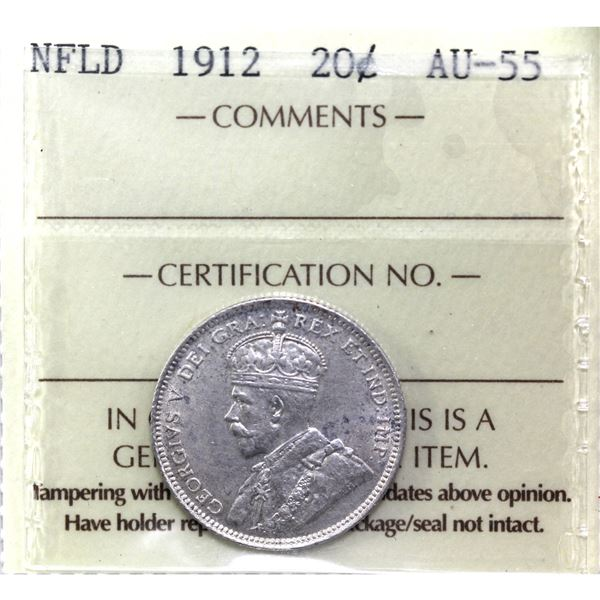 Newfoundland 20-cent 1912 ICCS Certified AU-55 (Lightly toned).
