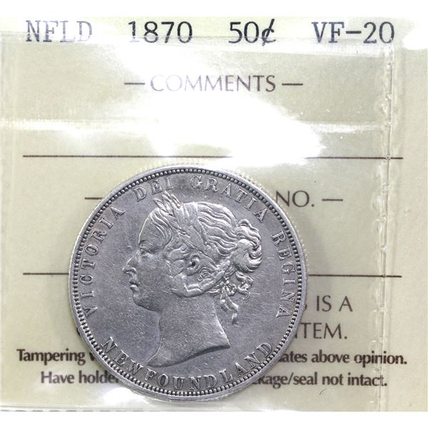 Newfoundland 50-cent 1870 ICCS Certified VF-20.
