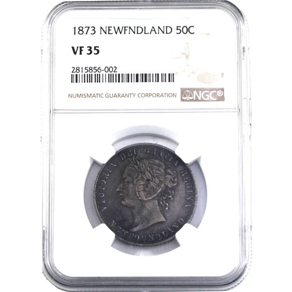 Newfoundland 50-cent 1873 NGC Certified VF-35.