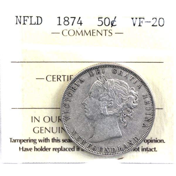 Newfoundland 50-cent 1874 ICCS Certified VF-20.