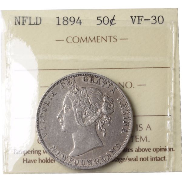 Newfoundland 50-cent 1894 ICCS Certified VF-30.