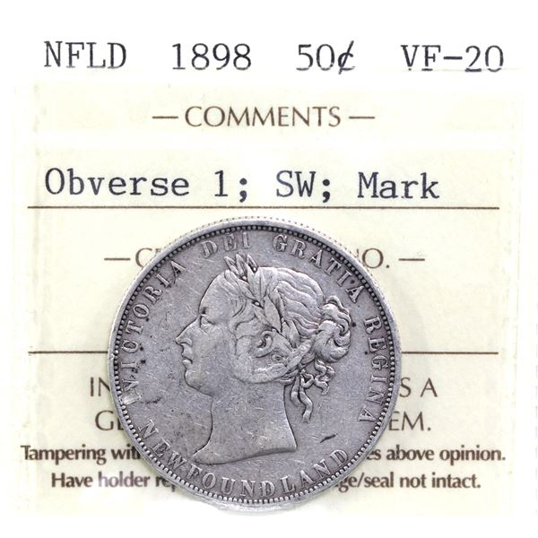 Newfoundland 50-cent 1898 Obverse 1 Short Waterline ICCS Certified VF-20 (Mark).