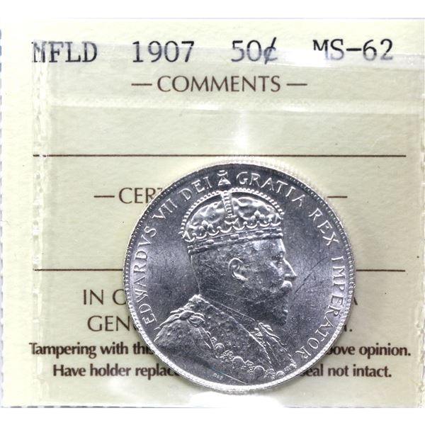 Newfoundland 50-cent 1907 ICCS Certified MS-62. A well struck coin with exceptional eye appeal worth
