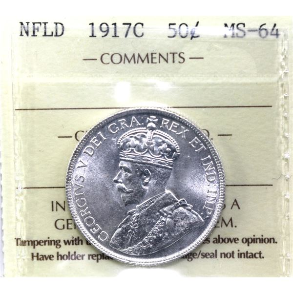 Newfoundland 50-cent 1917C ICCS Certified MS-64. Frosted white coin with choice eye appeal.